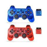 Skrer Manette sans Fil pour PS2, Double Shock Manette de Jeu pour Playstation 2 Clear...