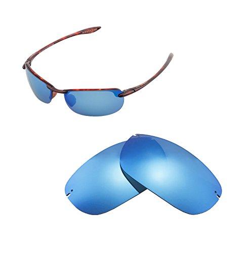 Walleva Ersatzgläser für Maui Jim Makaha Sonnenbrille - Mehrfache Optionen (Eisblau beschichtet - polarisiert)
