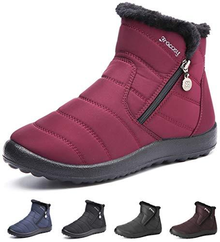 gracosy Damen Schneestiefel Stiefel, Warme Fellfutter Stiefeletten 2019 Winter Flache Schuhe Fuß Wärmer Fellschicht Komfort Stiefel Wasserdicht Nicht Schmutz Kurze Schneeschuhe -