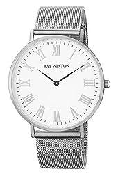 Ray Winton Mens Slim Analog White Dial Silver Stainless Steel Mesh Bracelet Watch
