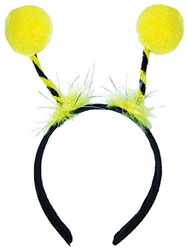 Haarreif Biene mit gelben Bommeln - Schöner Kopfschmuck zum Bienen Kostüm mit silbernen Glitzer Fäden zu Karneval, Mottoparty oder Junggesellenabschied