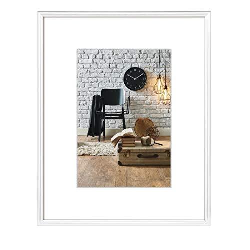 Hama Bilderrahmen DIN A4, mit Papier-Passepartout 15 x 20 cm, hochwertiges Glas, Kunststoff Rahmen, zum Aufhängen, weiß