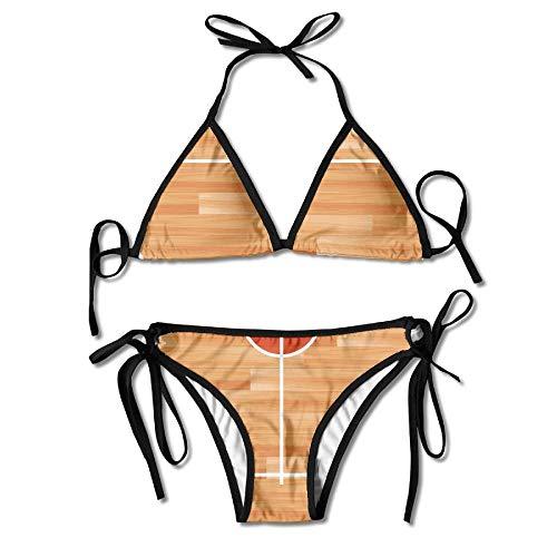 Basketball Court Women's Tie Side Bottom Bikini Suits Two Pieces ()
