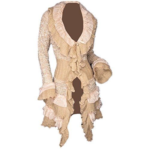 CuteRose Women Ruffle Pure Colour Lace Wrap Coat Knitted Shirt Cardigan Beige OS -