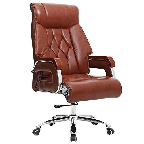YGB Chef-Stuhl Bürostuhl Gaming Stuhl Ergonomisches Design 360°Drehbare Höhenverstellbarer Schreibtischstuhl mit Armlehnen Kippmechanismus PU Leder Büro Studierzimmer (Schwarz) -