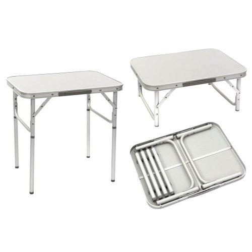 Aluminium Campingtisch Zusammenklappbar. Platzsparend. Mehrzwecktisch für Indoor und Outdoor zum Zelten, Koffertisch, Wasserfest und Hitzebeständiger Klapptisch mit Griff, Höhenverstellbar, Silber