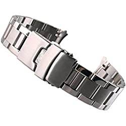 SAMGU High Quality Leisure Solid Stainless Steel Strap 22mm Bracelet Watch Band Color Silver