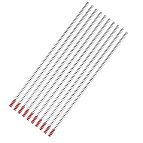 Nellguten Wolframelektrodenschweißstäbe Rotkopf 10 Stücke Lichtbogenschweißen Wolfram Argon Nadel Wolframstab für Schweißgerät - 2,4 * 175 Mm -