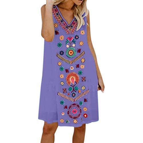 B-commerce Womens Boho Blumendruck lose beiläufige ärmellose Kurze Kleid Urlaub Damen Sommer Pomisi Beach Party Kleid Vintage Sommer lässig
