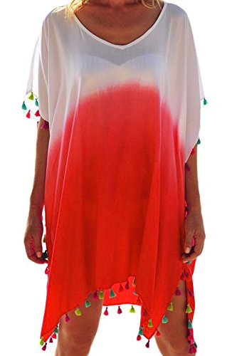 White Rosy Tassel Beach Cover up Orange