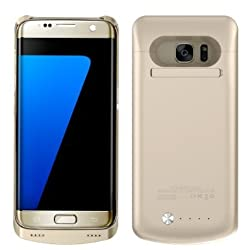 Galaxy S7 Edge Battery Case,Ruky [Newest Version] S7 Edge Battery Case 5200 Mah External Backup Battery Charger Combo Case For Galaxy S7 Edge,Backup Power Bank Case with Kickstand - (Gold)