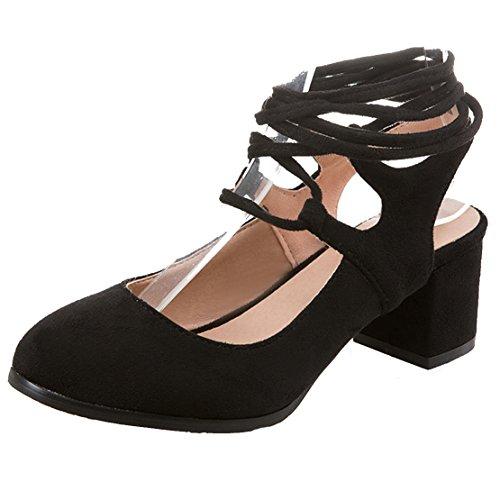 AIYOUMEI Damen Geschlossen Blockabastz Chunky Heel Slingback Sandalen mit Schnürung und 6cm Absatz Bequem Sommer Süß Schuhe Chunky Heel Slingbacks