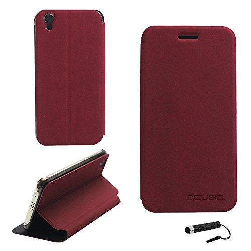 Tasche für UMIDIGI London Hülle, Ycloud PU Ledertasche Metal Smartphone Flip Cover Case Handyhülle mit Stand Function Rotwein