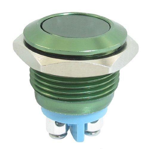 Sourcingmap - 16Mm Lavaggio Montaggio Momentanea Spst Verde Rotondo In Acciaio Inox Interruttore A Pulsante