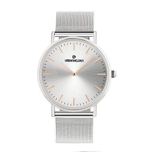 URBANHELDEN Armbanduhr Sunset mit Mesharmband - Edelstahl Saphirglas Schweizer Quarzwerk 38 mm - Universal Damen u. Herren Uhr Metall Silber
