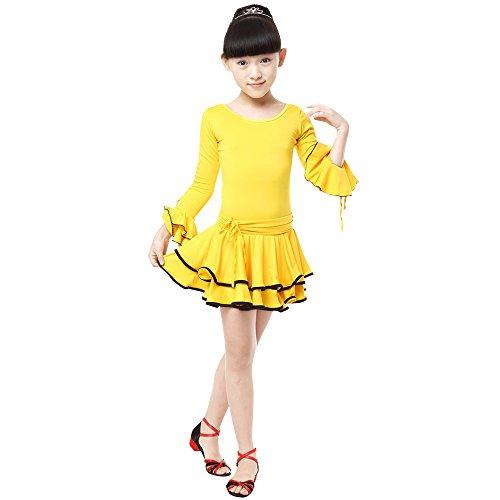 KINDOYO Mädchen Kinder Tanz Kleidung Doppel Saum Langarm Latein Tanzkleid Übung Performances Wettbewerb Kostüm, Stil-2/120