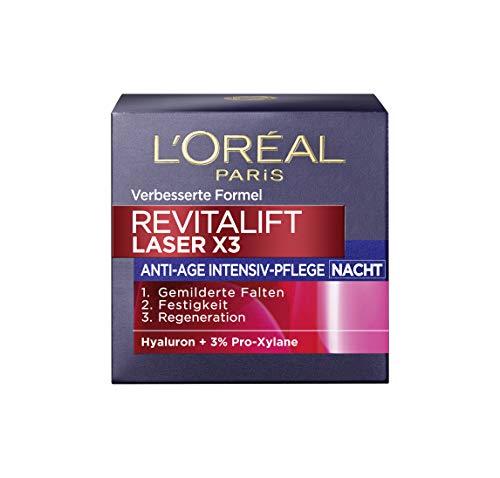 L'Oréal Paris Hyaluronsäure Nachtcreme, Anti-Aging Gesichtscreme, Revitalift Laser x3 Nachtpflege für Anti Falten, 50ml -
