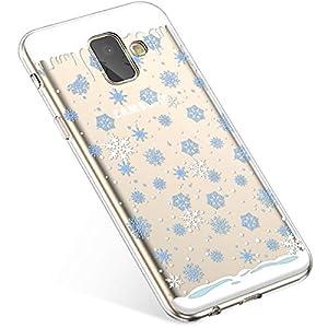 Uposao Kompatibel mit Handyhülle Galaxy A8 Plus 2018 Schutzhülle Transparent Silikon Schutzhülle Handytasche Crystal Clear Durchsichtige Hülle TPU Cover Weich TPU Bumper Case,Blau Schneeflocken
