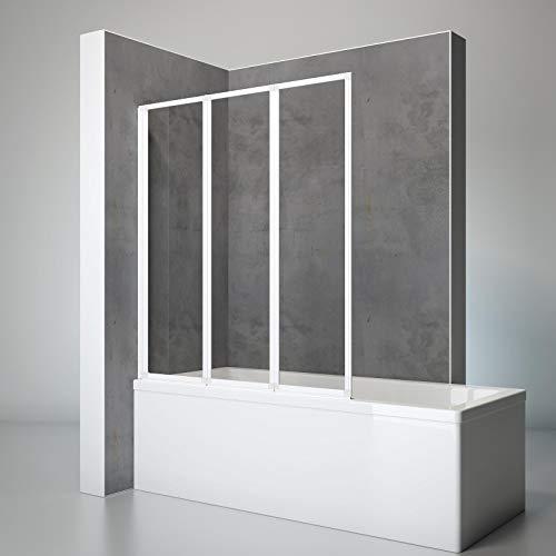 Schulte D1300 04 50 Duschwand Well, 127 x 140 cm, 3-teilig faltbar, 3 mm Sicherheitsglas Klar hell, apin-weiß, Duschabtrennung für Wanne