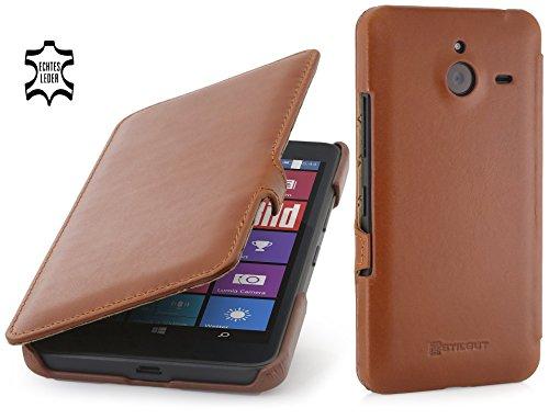 StilGut Book Type Case mit Clip, Hülle aus Leder für Microsoft Lumia 640 XL / 640 XL Dual SIM, Cognac