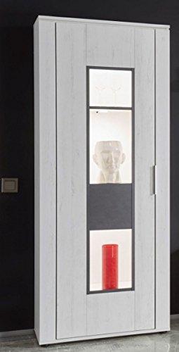 Dreams4Home Vitrine 'Curo II' - Schrank, Standvitrine, Glasvitrine, Aufbewahrung, Schrank, optional mit Beleuchtung, 1 Tür, 4 Einlegeböden, B/H/T: 68 x 172 x 37 cm, Wohnzimmer, Fernsehzimmer, modern, Pinie Weiss NB/Applikation Matera grau, Beleuchtung:ohne Beleuchtung