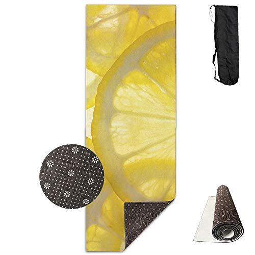 FGRYGF Bright Lemon Slices Yoga Mat - Yoga Matte - Non-Slip Lining - Easy to Clean - Latex-Free - Lightweight and Durable - Long 180 Width 61cm