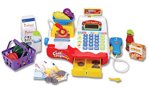 Supermarket Cash Register with Checkout Scanner, Weight Scale, Microphone, Calculator, Play Money and Food Shopping Playset for kids (Cash Register Scanner)