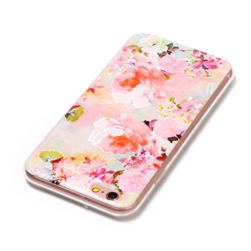 """Coque pour Apple iPhone 6S Plus / 6 Plus , IJIA Transparent Bleu Fleur Papillon TPU Doux Silicone Bumper Case Cover Shell Housse Etui pour Apple iPhone 6S Plus / 6 Plus (5.5"""") HX45"""