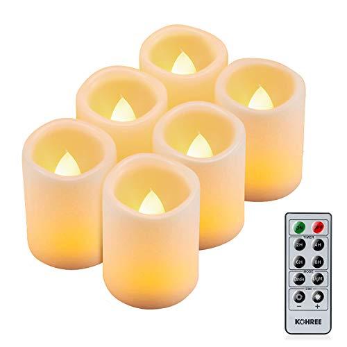 Kohree 6 LED Flammenlose Kerzen mit Fernbedienung, Batteriebetriebene Kerze, LED Kerze mit Timer für Weihnachtsdeko, Hochzeit, Geburtstags, Party