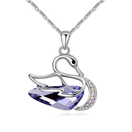 MURTOO Collier plaqué or avec pendentif en forme de Cygne en Cristal Swarovski Element NEUF Livraison gratuite Couleur Violet