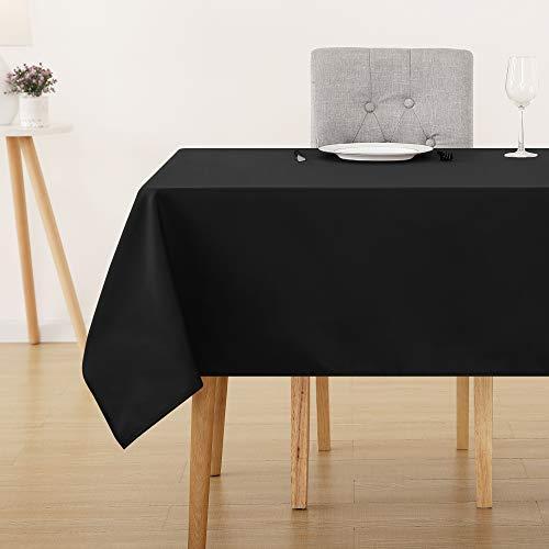 Deconovo Tischdecke Wasserabweisend Tischwäsche Lotuseffekt Tischtücher 130x220 cm Schwarz
