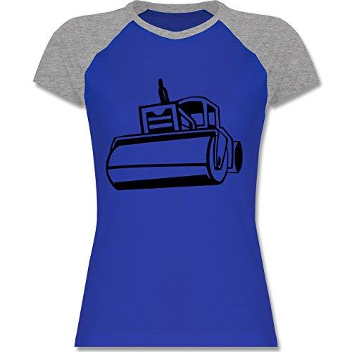 Shirtracer Andere Fahrzeuge - Dampfwalze - Zweifarbiges Baseballshirt/Raglan T-Shirt für Damen Royalblau/Grau meliert