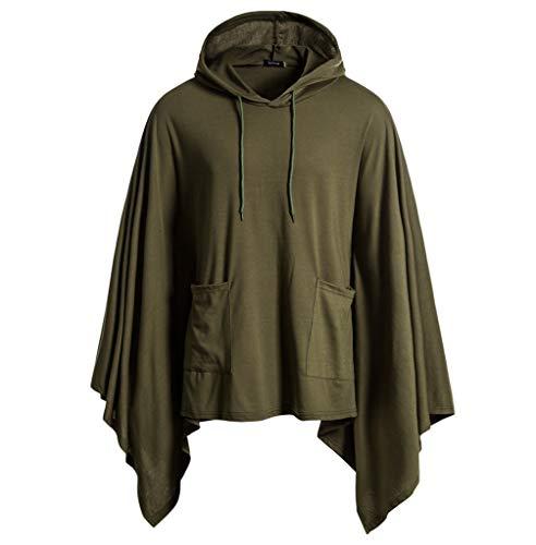 Skxinn Kapuzen-Sweatshirt für Herren, Männer Herbst Gotisch UnregelmäßIges Lose Umhang Mit Kapuze Mantel Poncho Longstrickjacke Kapuzenumhang Raglan Klassisch Pullover(Armeegrün,Large)