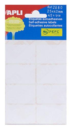 APLI 2680 - Etiquetas blancas adhesivo fuerte 25 x