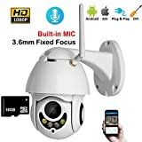 SSCJ Caméra de sécurité PTZ Extérieure HD 1080P WiFi Pan Tilt Zoom 5X Optique 60 Pieds Couleur Vision de Nuit Audio bidirectionnel Audio IP66 Détection de mouvements et alertes,3.6mmand16GSD