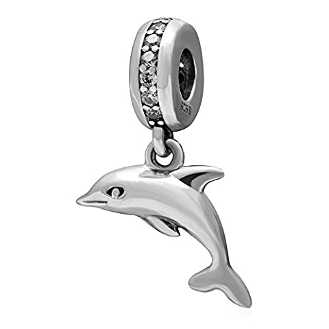 Soulbead Clear Cz Dangle Playful Dolphin Charm 925 Sterling Silver Animal Pendant Bead with Compatible Eurupean Sea Series Bracelet