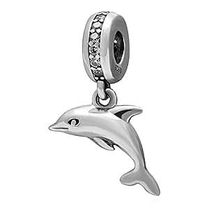 Hoobeads Dangle Charms - Charm in autentico argento Sterling 925, con delfino che salta, charm / ciondolo per braccialetti europei, regalo per mamma, moglie, fidanzata, figlia, amici