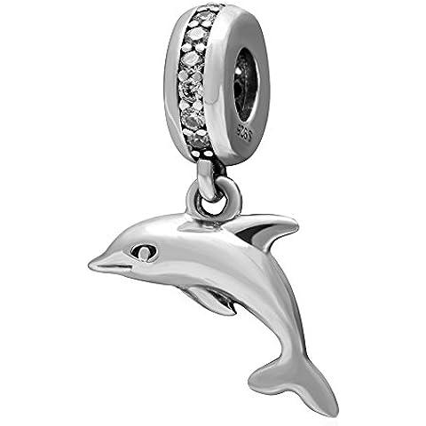 soulbead claro CZ Dangle Playful Dolphin encanto plata de ley 925Animal Colgante Pulsera Con Compatible eurupean mar serie