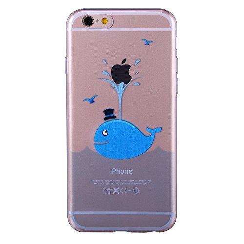 iPhone 6 6S 4.7 Case TPU Gomma Morbida Trasparente Silicone Ultra Sottile Slim Disegno Personalizzato Cartoni Animati ZQ-Link® (Panda) balena