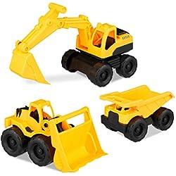 Relaxdays 10023916 Lot de 3 Jouets de Construction avec Pelleteuse Frontale et Camion pour bac à Sable et Chambre d'enfant en Plastique Jaune