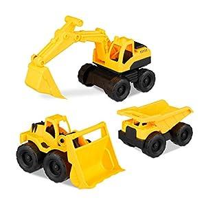 Relaxdays-10023916Vehículos de construcción de Juguete, Juego de 3con Excavadora, Carga Frontal & Camiones, para Caja de Arena & habitación de los Niños, de plástico, Amarillo
