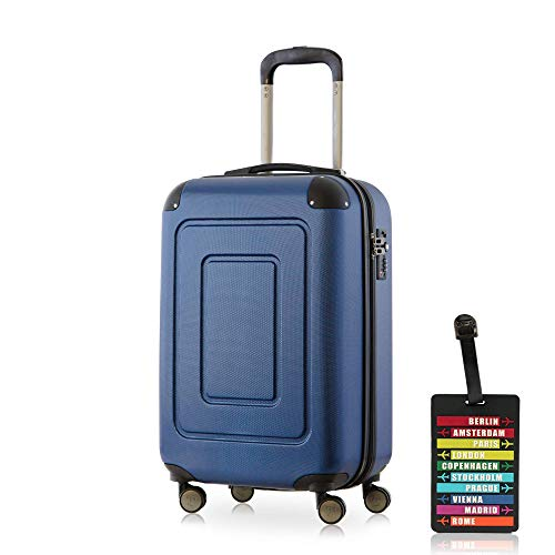 Happy Trolley - Lugano Handgepäck Kabinentrolley Bordgepäck Hartschalen-Koffer Trolley Reisekoffer, sehr leicht, TSA, 55 cm, 40L, Dunkelblau + Design Kofferanhänger