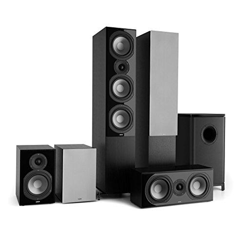 NUMAN Reference 851 Surround Sound System 5.1 (Home Cinema, Altavoz de pie, subwoofer Activo, 2X Altavoz de estantería, Altavoz Central) - Negro con C