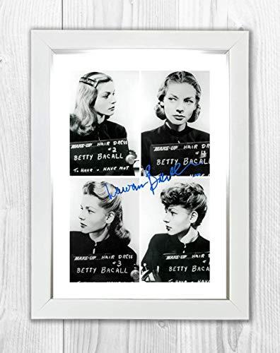 Gravia Digital Lauren Bacall Tasse/Shot-Reproduktion, Signatur-Poster, Foto, A4 Weißer Rahmen (Signatur-foto-rahmen)