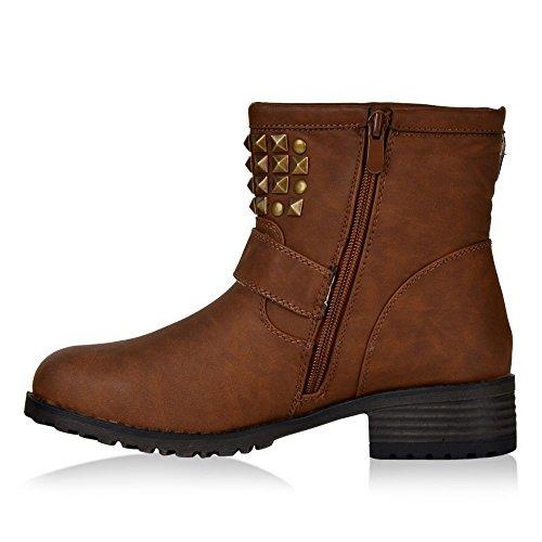 Boots Damen Stiefel Stiefelette Schuhe Braun
