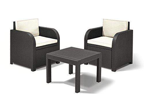 Dynamic24 Sitzgruppe Florida Rattan Optik Graphit 3-teilig - Home Lounge-sessel