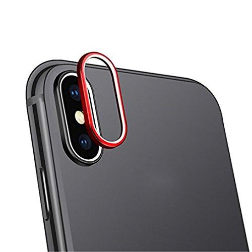 iphone x accesorios, Sannysis Lente templada de la cámara posterior de 9H dureza vidrio Cubierta protectora 3D iphone x protector para iphone x accesorios apple Protector de pantalla de lente (Rojo)