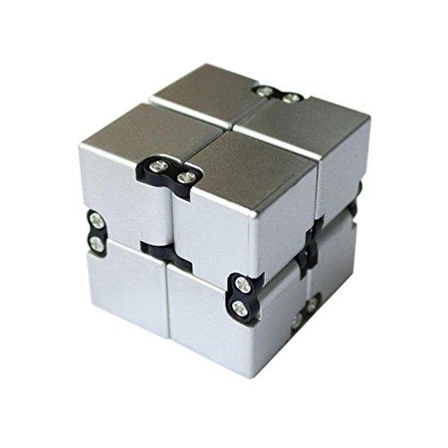 Preisvergleich Produktbild zauberwürfel , ADESHOP Luxus EDC Unendlichkeit Cube Mini für Stress Relief Fidget Anti Angst Stress-Lustig (Silber-)