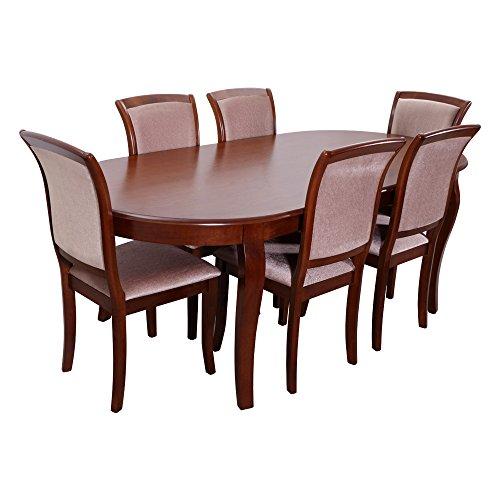 Evok Neva Six Seater Dining Table Set (Matte Finish, Walnut)