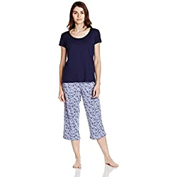 Marks & Spencer Women's Cotton Pyjama Set (0000009083011_T374184FBLUE MIX16-18)
